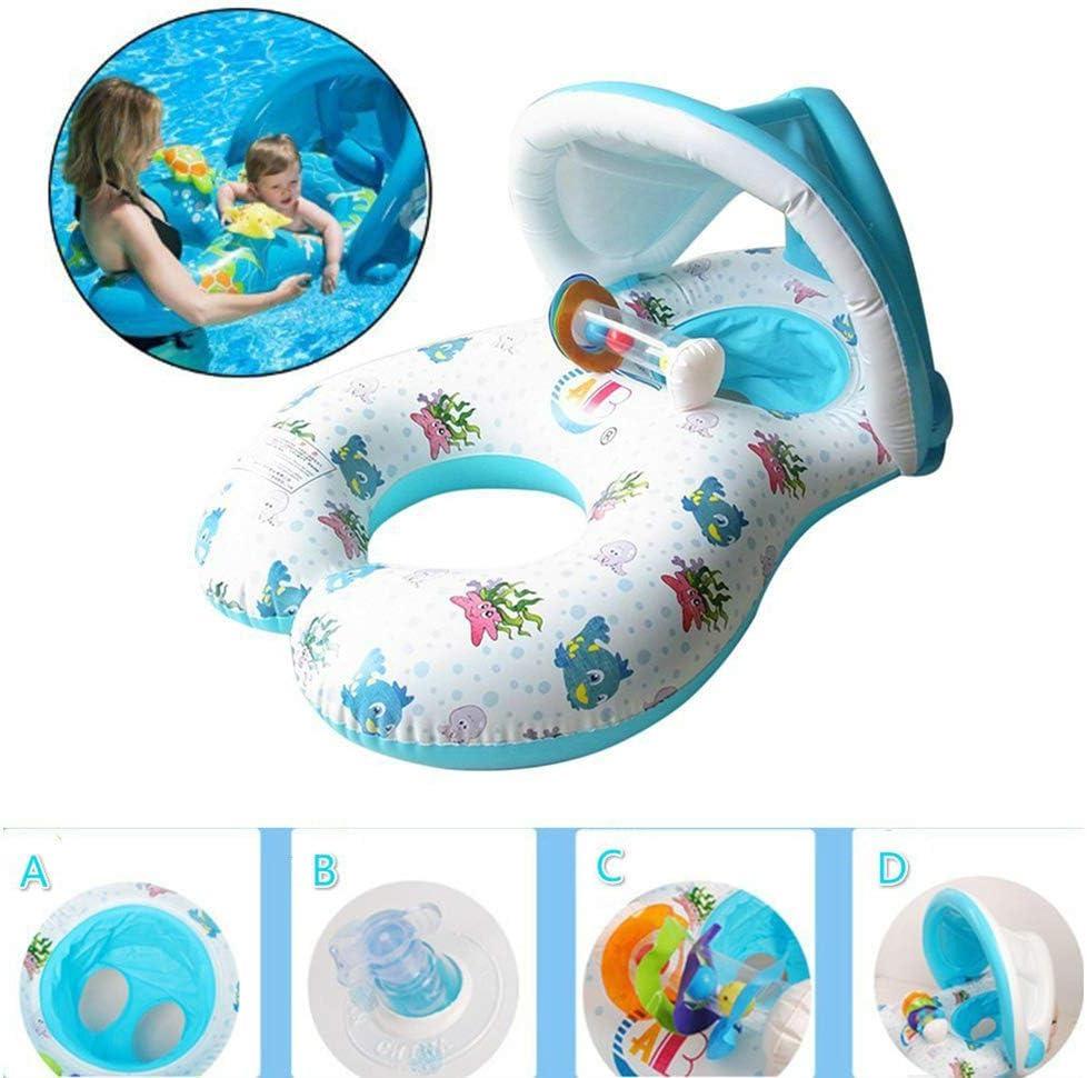 Creacom Balsa flotante inflable de natación para la madre y el bebé Anillo grueso de natación para bebés con toldo extraíble Sombrilla Anillo de natación Juguetes Asiento para niños Anillos de piscina