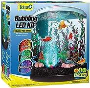 Tetra Bubbling LED Aquarium Kit 3 Gallons, Half-Moon Fish Tank With Color-Changing Light Disc