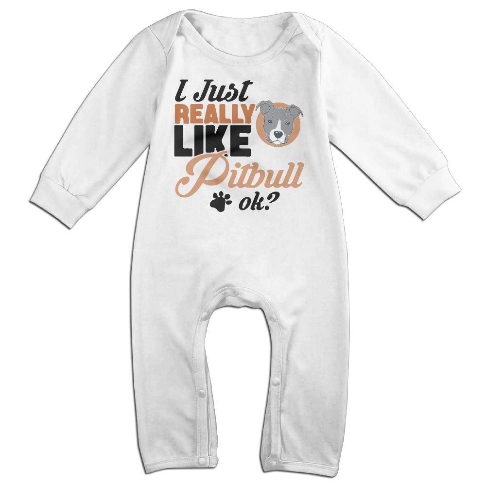 Mri-le1 Toddler Baby Boy Girl Long Sleeved Coveralls I Just Really Like Pitbull Ok-1 Baby Clothes