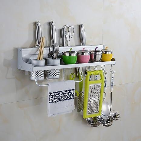 Porta utensili da cucina da parete Lega di alluminio mensola cucina con  porta spezie, porta pentole e Ceppi portacoltelli vuoti, 50 cm di lunghezza