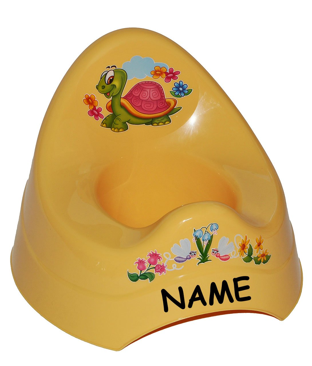 Unbekannt Töpfchen / Nachttopf - groß - mit großer Lehne + Spritzschutz incl. Namen - gelb Schildkröte Tiere - Babytöpfchen / Kindertopf / Lerntöpfchen - Toilettentrain.. Kinder-land