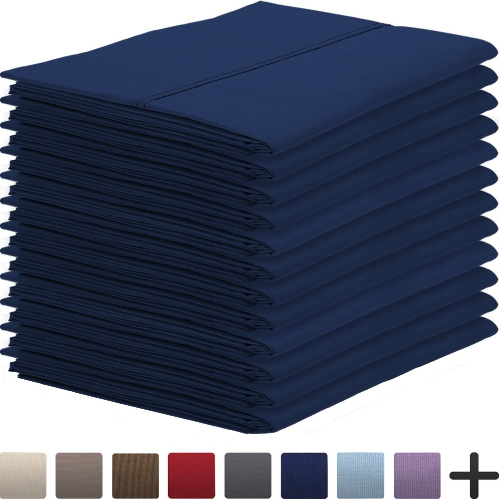 12 Pillowcases - Premium 1800 Ultra-Soft Collection - Bulk Pack - Double Brushed - Hypoallergenic - Wrinkle Resistant - Easy Care (Standard - 12 Pack, Dark Blue)