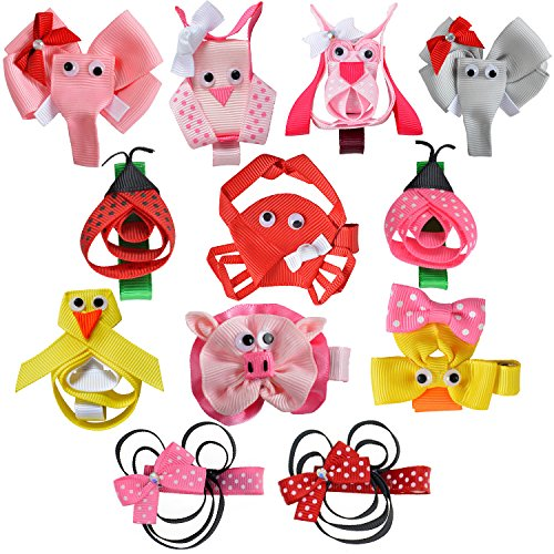 [LCLHB Small Baby Sculpture Boutique Hair bows Alligator Clips for Toddlers 12PCS] (Animal Outfits For Toddlers)