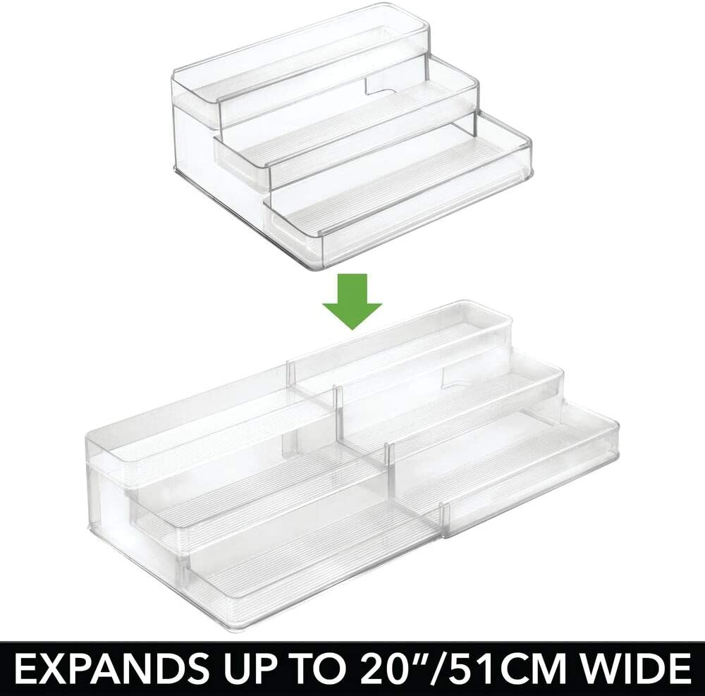 3 Shelves Cabinet Countertop mDesign Adjustable Holds Supplements Charcoal Gray Expandable Plastic Vitamin Rack Storage Organizer Tray for Bathroom Vanity Medication