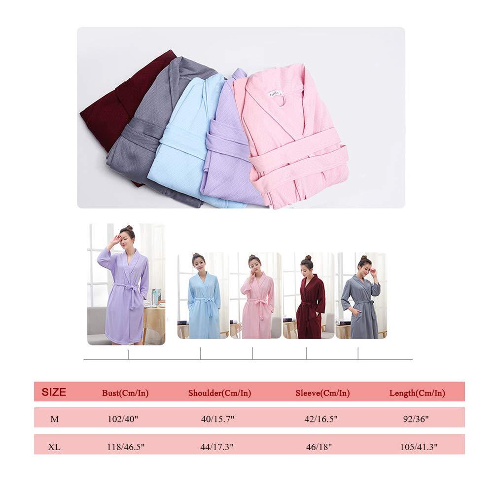 da0ed1eb1d Bath Robe for Womens Soft Kimono Bathrobe Waffle Knee-Length Hotel Spa Robe  Lightweight Dressing Gown at Amazon Women s Clothing store