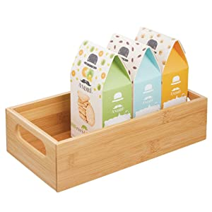 mDesign Bamboo Wood Compact Food Storage Bin with Handle for Kitchen Cabinet, Pantry, Shelf to Organize Seasoning Packets, Powder Mixes, Spices, Packaged Snacks - Natural