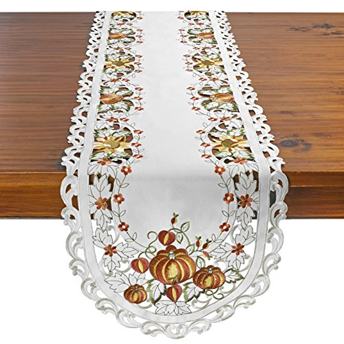 - HomeCrate Fall Collection - Pumpkin Table Runner, Handmade Embroidered Cutwork - 16