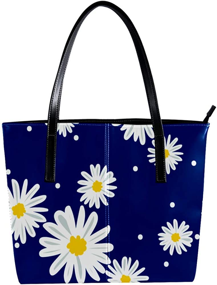 Tiny Flowers PatternWomen's Handbags, soft leather handle bag Handle Satchel Bag for Work Travel Large Messenger Bag