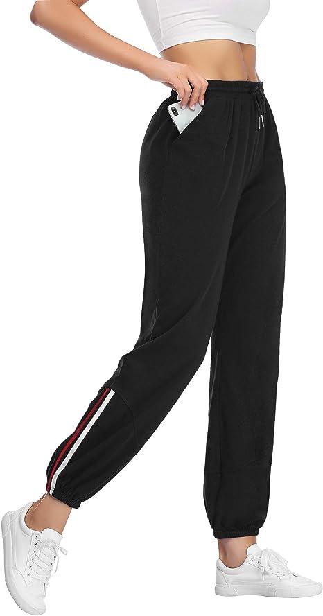 Trainingshose Fitness High Waist Sporthose Frauen Sweatpants Lange Freizeithose Laufhose DOTIN Damen Jogginghose Sweathose