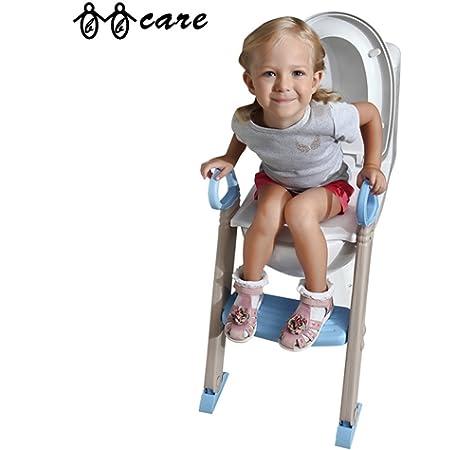 BBCare Orinal de entramiento y Asiento de Baño para Bebé Plegable con Escalera (Azul_Blanco): Amazon.es: Bebé