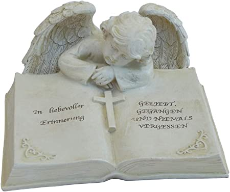 Engel auf Spruchstein 16 cm Grabschmuck Grabdeko Grabstein Gedenkstein Angel NEU