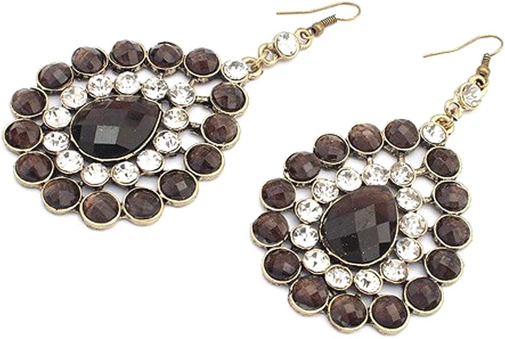 Color negro con incrustaciones de brillantes en forma de lágrima de pendientes de piedras preciosas en chapado oro antiguo