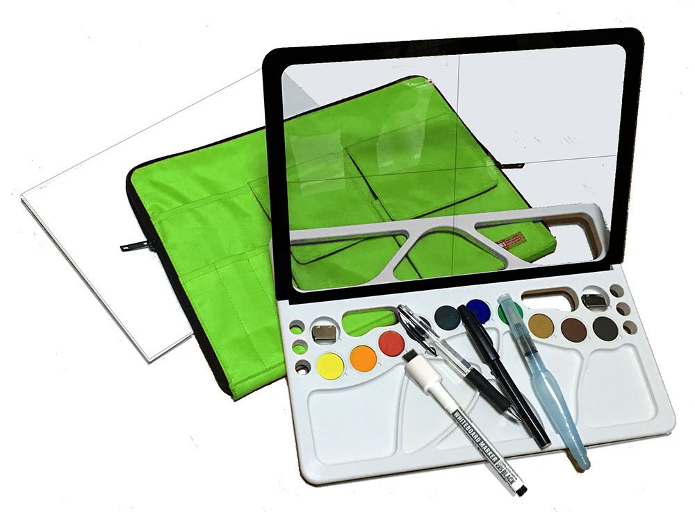 For beginners, new and useful watercolor painting material full set made in Japan. Green bag