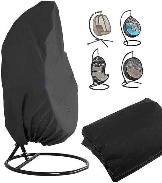 Funda de sillón colgante, soporte de silla giratoria para huevos de ratán exterior cubre el protector de muebles de jardín – 190 x 115 cm (negro): Amazon.es: Hogar