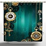 Anti-Bacterial Shower Curtain by iPrint,Industrial,Antique Items Watches Keys and Chains with Steampunk Influences Illustration,Multicolor,Polyester Fabric Bathroom Shower Curtain Set with Hooks