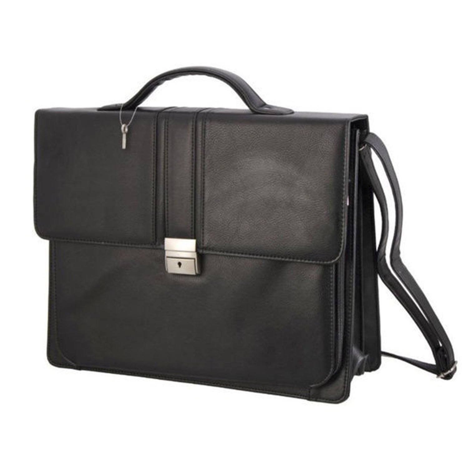 DSOS Black Professor Briefcase Synthetic Leather Solid Pattern Stylish Look