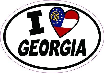 """Georgia Flag oval car window bumper sticker decal 5/"""" x 3/"""""""