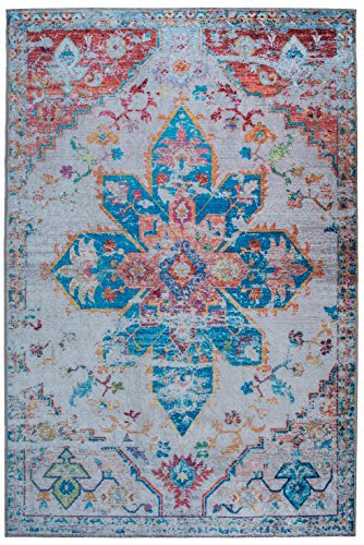Mylife Rugs Imperia Collection Traditional Vintage Non Slip (Non-Skid) Machine Washable Medallion Distressed Area Rug (4