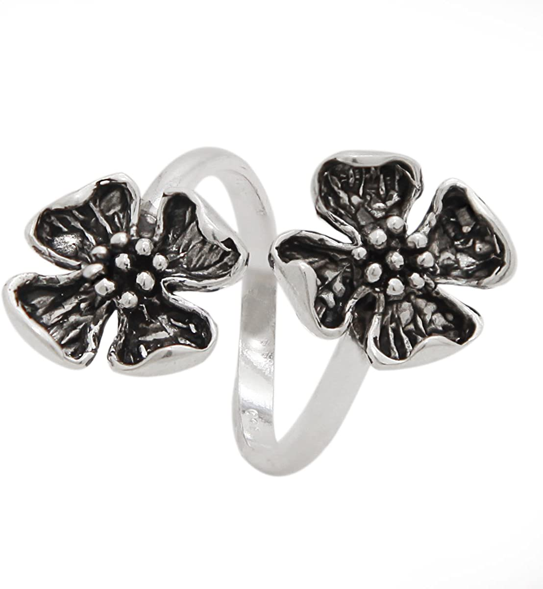 925 Sterling Silver Double Dogwood Flower Ring - Open Band (Sizes 5-12)