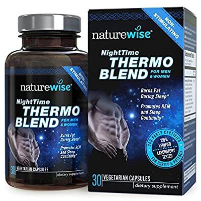NatureWise Night Time Thermo Blend Burns Fat and Promotes Restful Sleep, Dual-Function Formula, 30 count