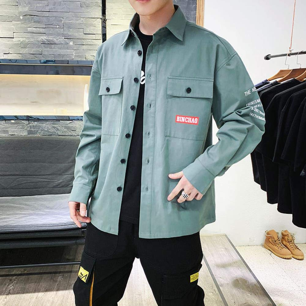 Green Mens Shirt Shirt Mens Loose Leisure Mens Overalls Fashion Trend in Spring XXL