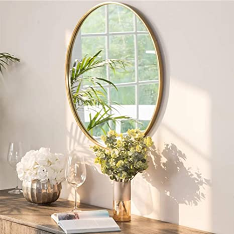 Ipouf Round Mirror Wall Mirror With Metal Frame 24 Inch For Vanity Washrooms Bathroom Entryway Living Room Gold Kitchen Dining
