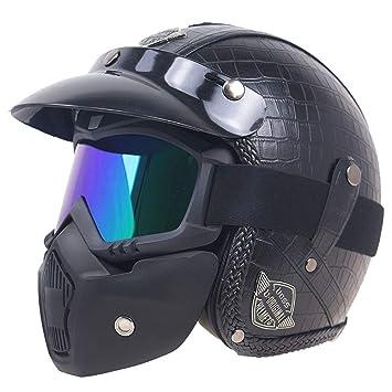 Homesave Motocicleta Cascos 3/5 PU Cuero Vintage con Máscara De Gafas,Black,