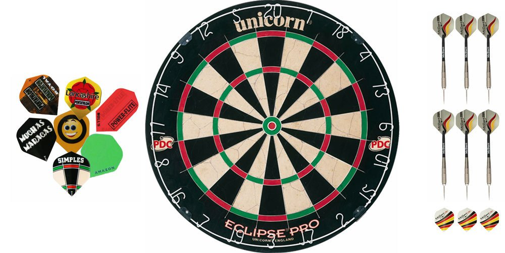 Unicorn Eclipse Pro Dartboard+2 Satz Darts+10 Satz McDart®Flights