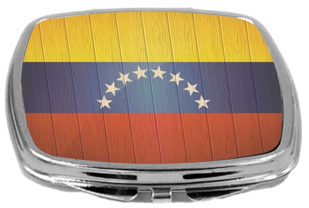 Rikki Knight Compact Mirror on Distressed Wood Design, Venezuela Flag, 3 Ounce