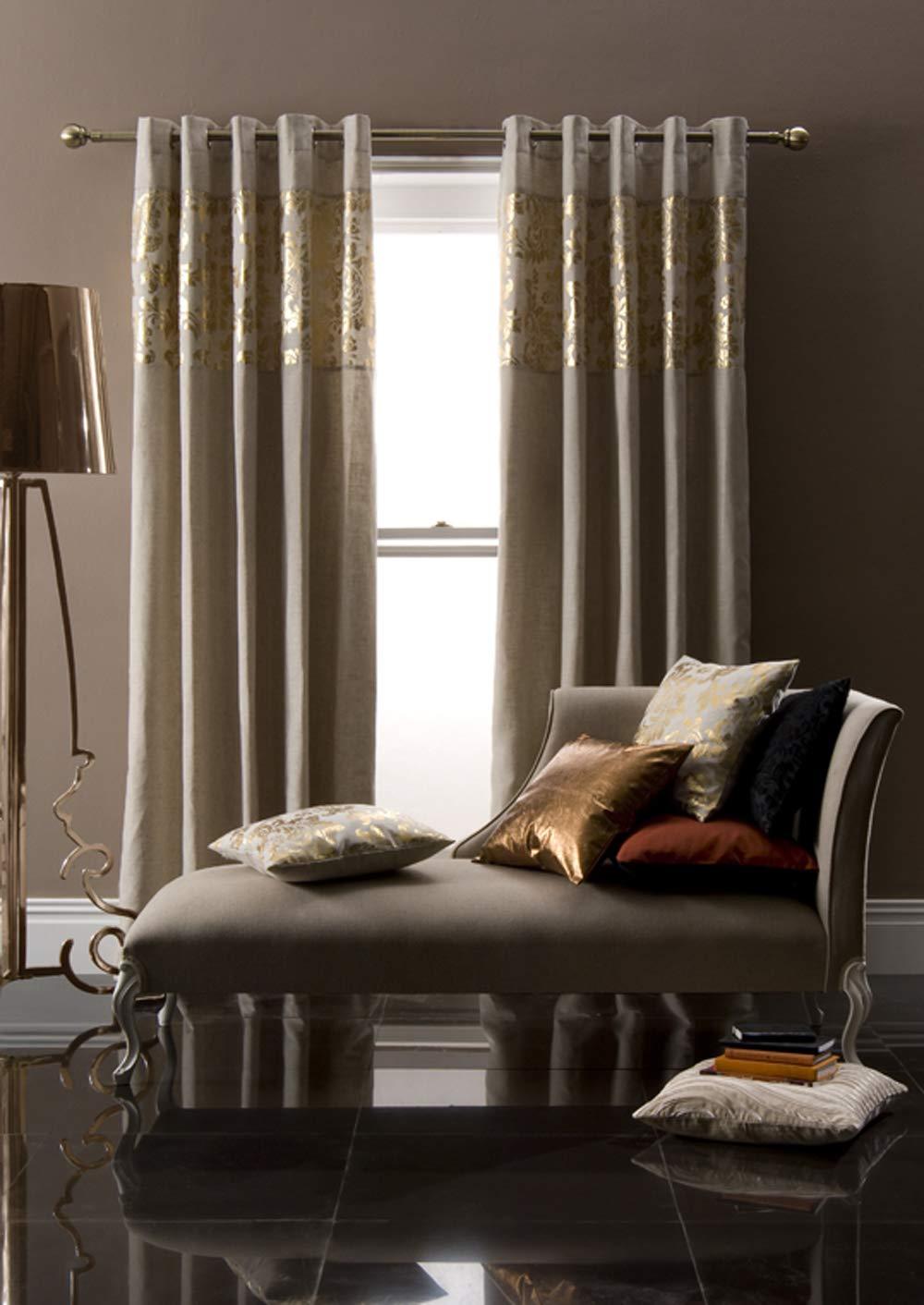 Catherine Lansfield LUXUS Ösen Vorhang,Gardinen Grau mit Glitter Elementen Gold EDEL