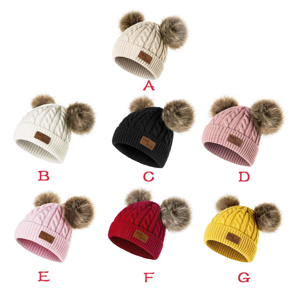 ed95bf25820a10 Amazon.com: Infant Toddler Beanie Woolen Hat 🎅 Pure Color Winter Twist  Double Pom Pom Wool Knitted Cap for 0-3 Years Old (0-3 Years Old, ...