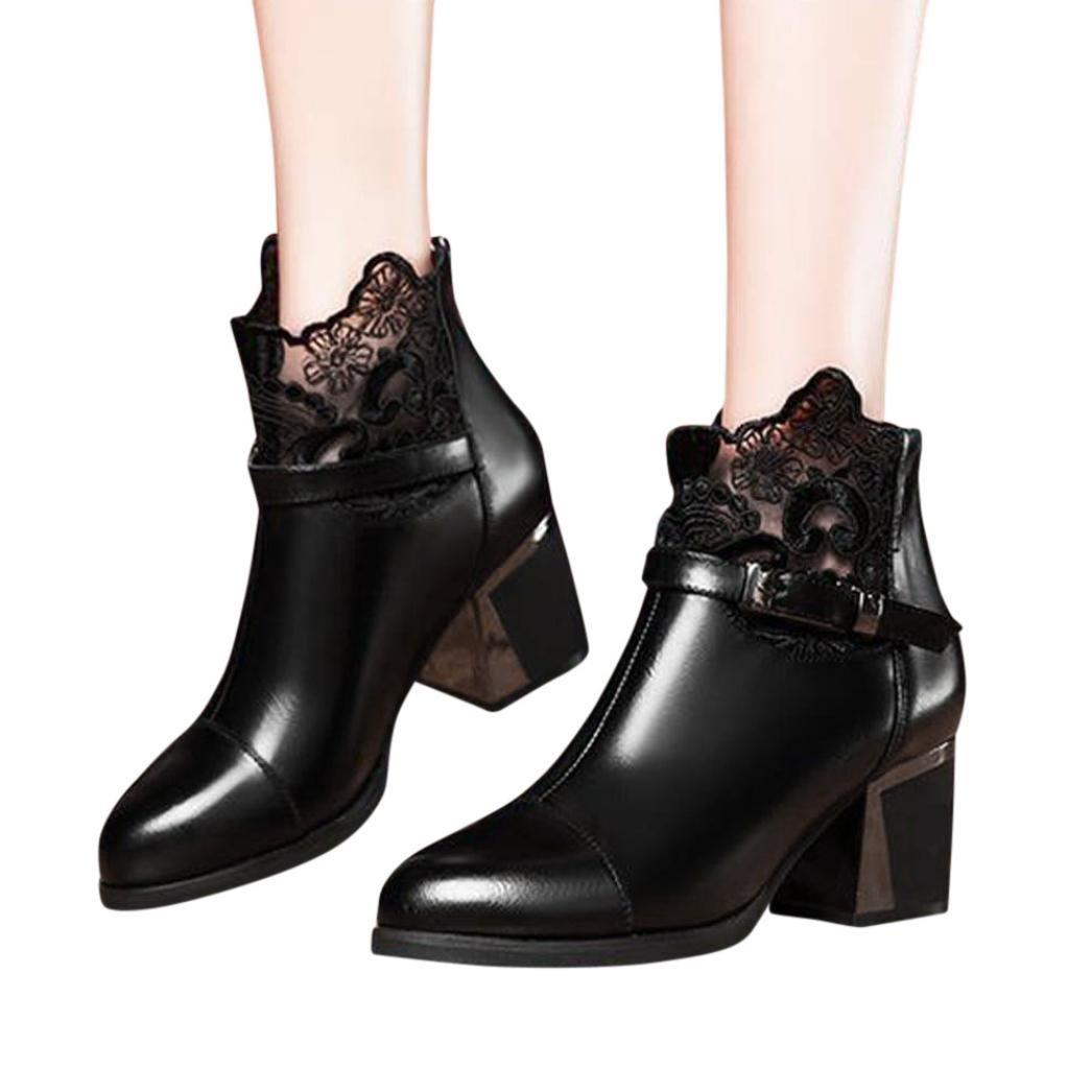 Baigoods Women Ladies Metal Buckle Zip Plaid Lace Chunky Boots Vintage Fashion Comfortable Shoes (US:5, Black)