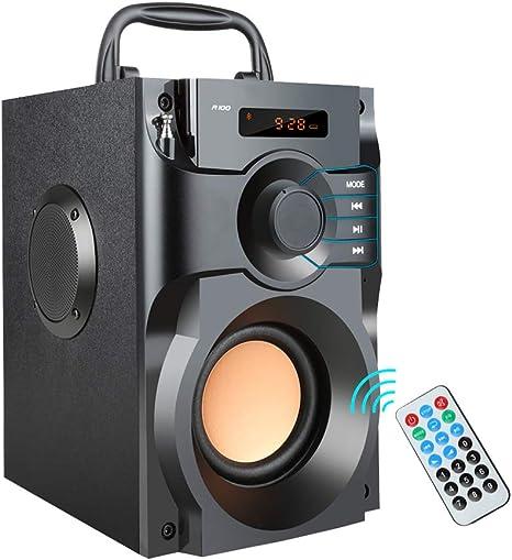 ZUEN Altavoz inalámbrico Bluetooth Subwoofer estéreo Altavoces Bajos Columna Caja de Sonido Soporte FM Radio TF AUX USB Control Remoto: Amazon.es: Deportes y aire libre
