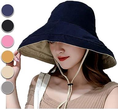Sombrero de Mujer Sombrero Pesca del Sol Sombrero Playa Gorra de Verano Plegable De ala Ancha Protecci/ón UV