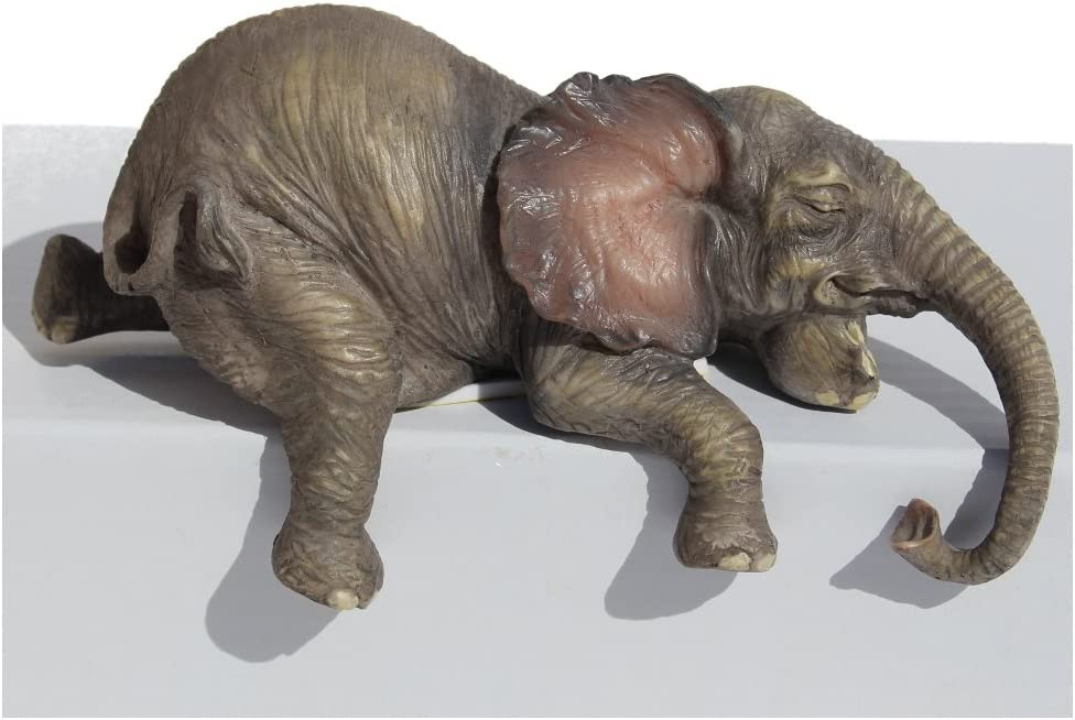 "Baby Elephant Laying Down Lounging Shelf Sitter 4"" L Figurine"