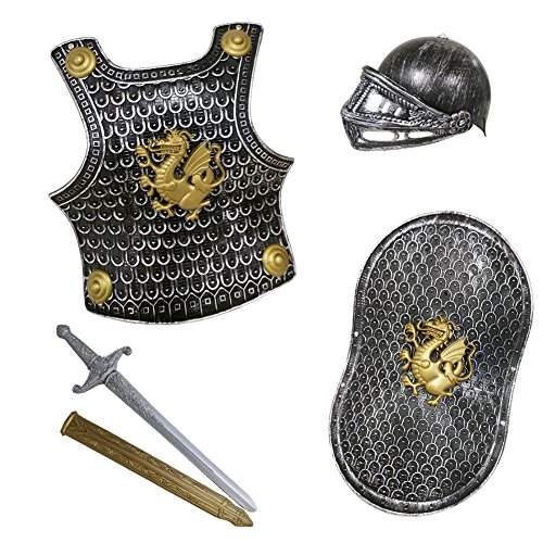 Novelty Giant Childs Knight Armor Gladiator Soldier 4 Pc Costume Set Black|gold|silver -