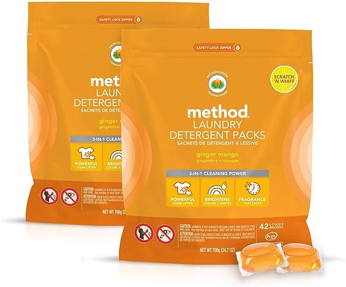 Method Laundry Detergent Packs, Ginger Mango, 24.7 Fl Oz (2 Count)