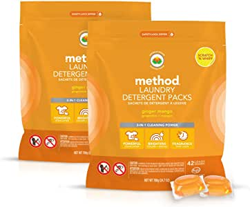 Method Laundry Detergent Packs, Ginger Mango, 2 Count