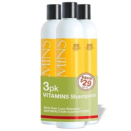Nourish Beaute – Champú para la pérdida de cabello - Vitaminas naturales, bloqueador DHT para un crecimiento más rápido en hombres y mujeres, el ...