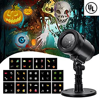 Christmas Party LED Projector Light- GOODAN14 Switchable Slides/Patterns Decorative Light for Halloween Christmas Thanksgiving Holiday, 4 Speed Modes, IP65 Waterproof, Timing Function, Thermal Module
