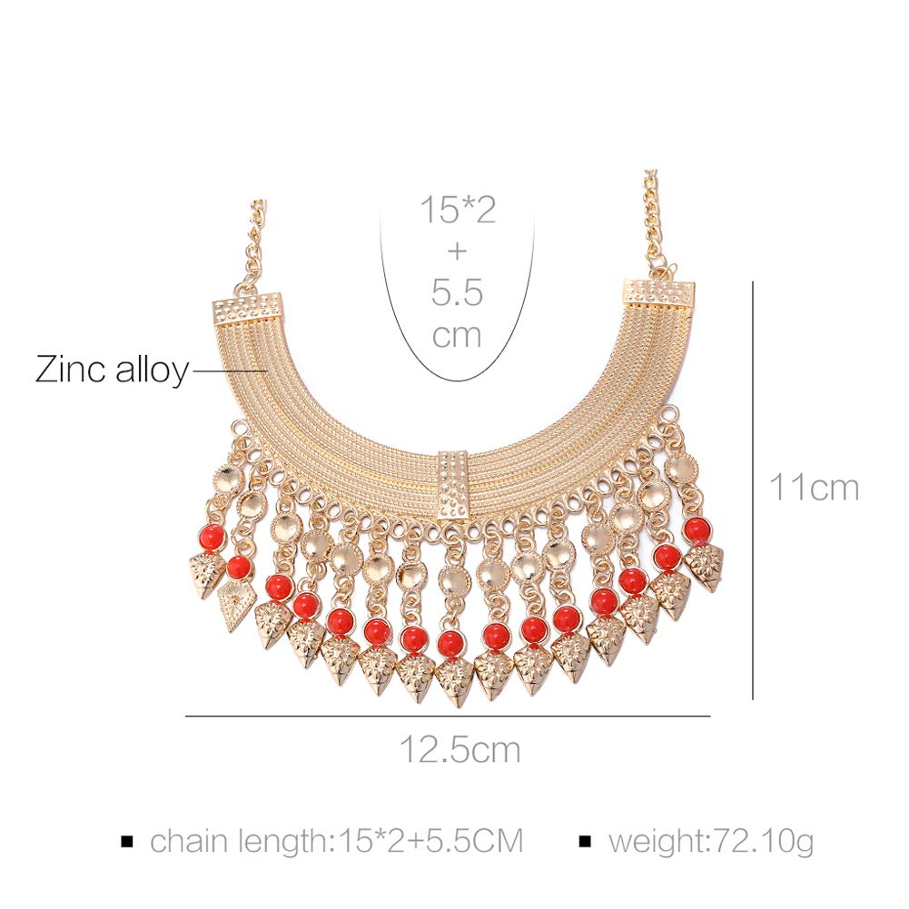 Hobbyant Gold Plated Vintage Jewelry Set Stylish Statement Necklace Earrings Red Beads Accessories