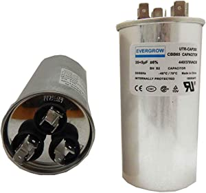 EverGrow 35+5 MFD uf 370 or 440 Volt VAC Round Dual Run Capacitor for Air Conditioner or Heat Pump - Runs AC Motor and Fan – 5 Year Warranty