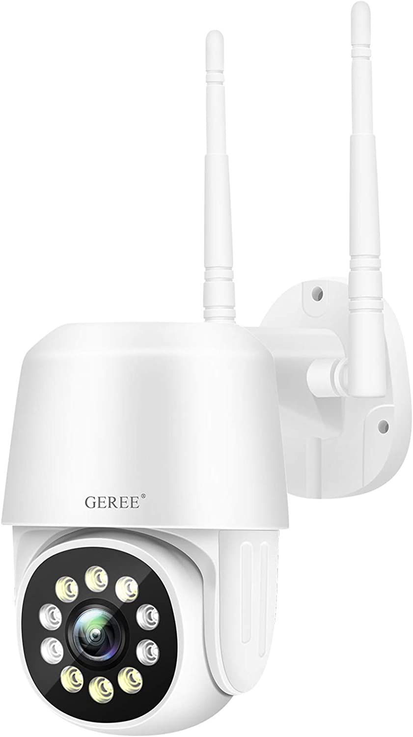 Security Camera Outdoor ,GEREE 1080P Pan Tilt Security Surveillance WiFi IP Home Security Cameras Night Vision,2-Way Audio ,Motion Alert,Cloud Storage Works with Alexa