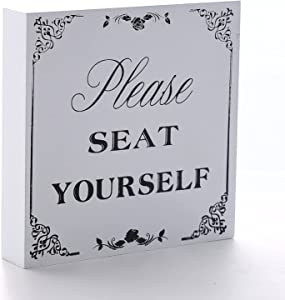 U/D Wooden Bathroom Seat Yourself Signs Decor ,Farmhouse Funny Box Sign Funny Bathroom Accessories Decor Signs with Sayings ,Wooden Rustic White Seat Yourself Sign with Sayings