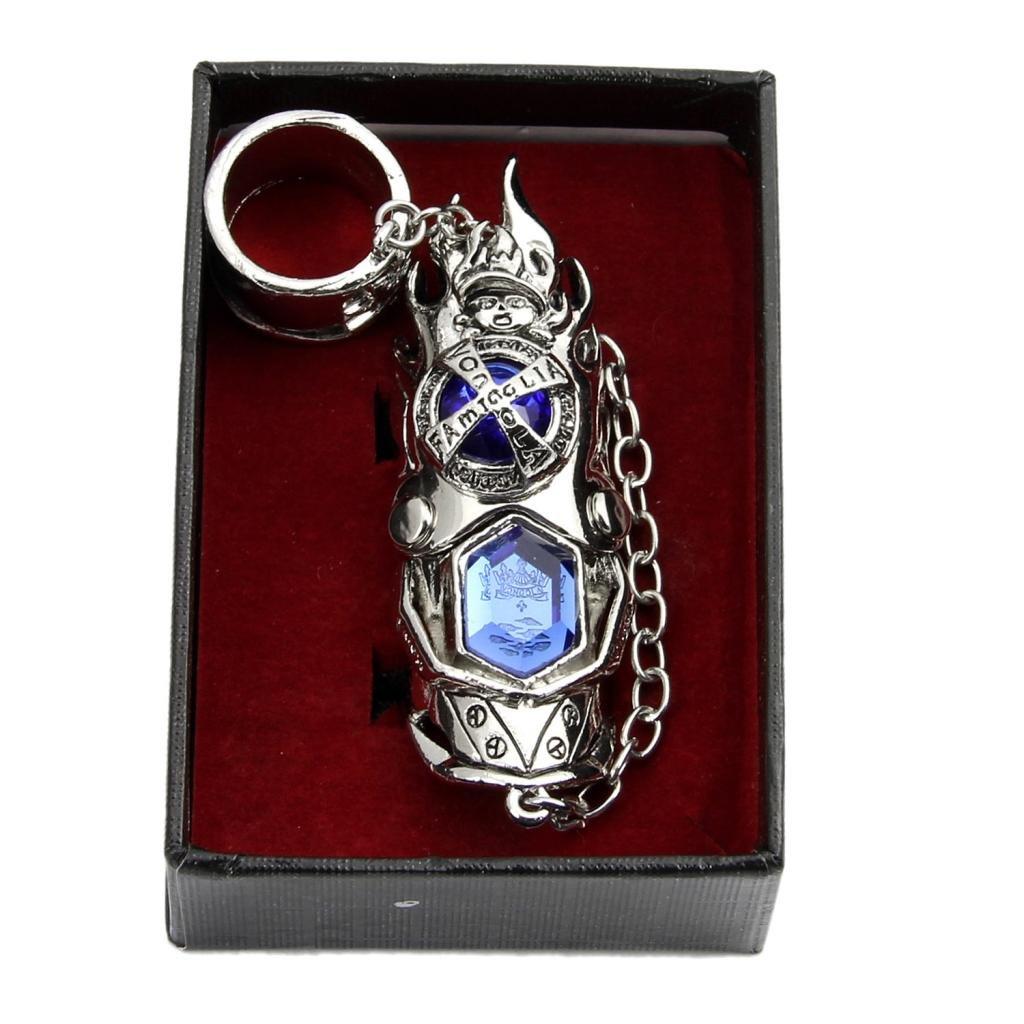 Hitman Reborn Katekyo Metal Finger Rotating Armor Vongola Cosplay Ring Royal blue