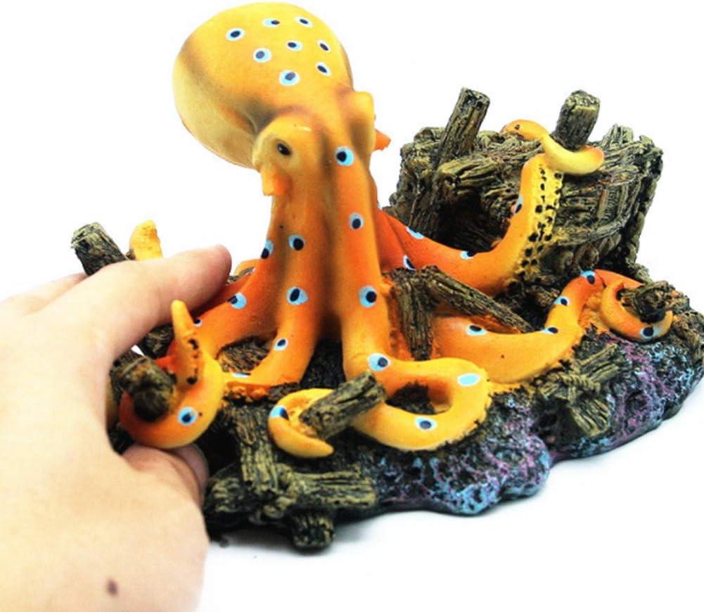 Pecera De Resina Adornos Pulpo Gigante En Un Naufragio Decoraciones De La Estatua para Acuarios Fish Tank Decoraci/ón Pulpo Naufragio Jardines Acuario