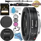 Canon EF 40mm f/2.8 STM Lens 6310B002 + 52mm 3 Piece Filter Kit + 64GB SDXC Card + Lens Pen Cleaner + Fibercloth + Lens Capkeeper + Deluxe 70 Monopod + Deluxe Cleaning Kit Bundle
