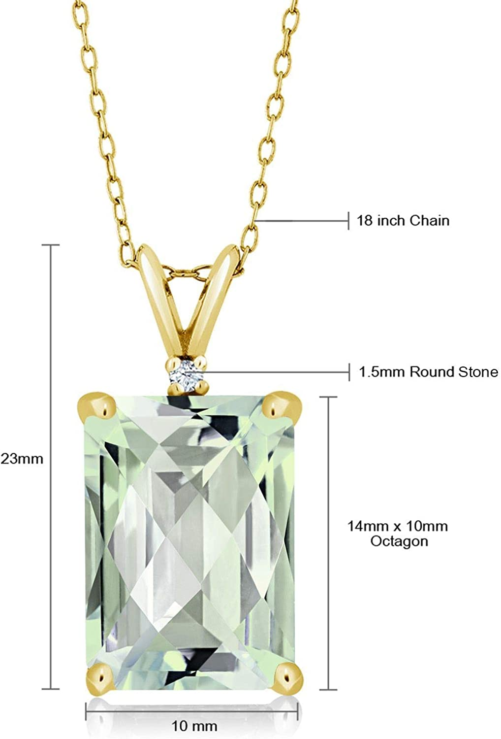Gem Stone King 6.62 Ct Octagon Checkerboard Green Prasiolite 18K Yellow Gold Plated Silver Pendant