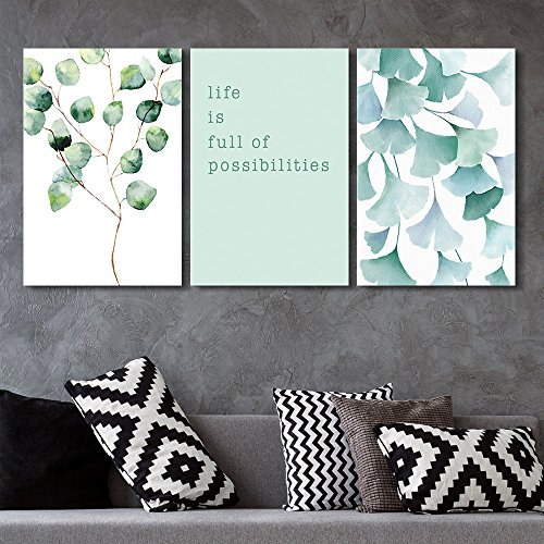 3 Panel Watercolor Style Leaves with Life if Full of Possibilities Quotes x 3 Panels