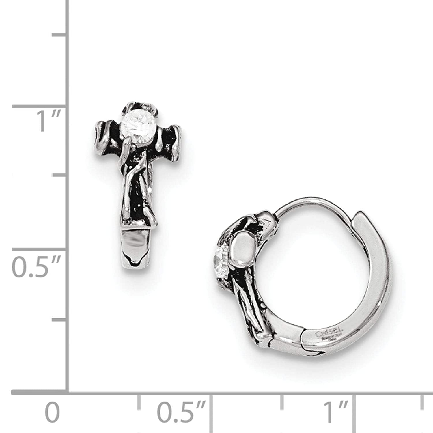 Stainless Steel Polished /& Antiqued w//CZ Cross Hoop Earrings